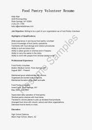 Resume Samples  Food Pantry Volunteer Resume Sample   sample volunteer resume