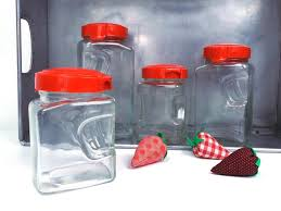 vintage art deco glass canister set of 4 containers storage