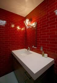 Wall Tile Bathroom Ideas by 32 Best Red Bathrooms Images On Pinterest Red Bathrooms Red And