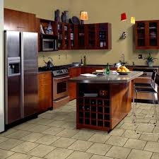 great classic vanilla color resilient porcelain tile kitchen floor