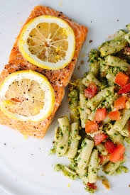 Pasta Recipes Roasted Lemon Salmon Fillets With Pesto Pasta Recipe Jessica Gavin