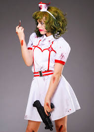 Joker Nurse Costume Halloween Joker Style Nurse Bloody Costume