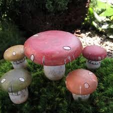 Mushroom Home Decor Mushroom Table With Stools Fairy Gardening Australia