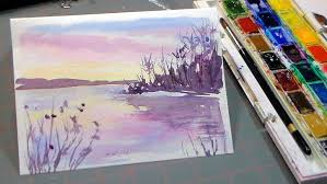 easy 3 color watercolor sunset more watercolor tutorials here