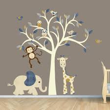 cream tree decal denim color boy room wall jungle animal cream tree decal denim color boy room wall jungle animal nursery decor design