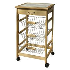 organize it all kitchen cart with 3 baskets hayneedle