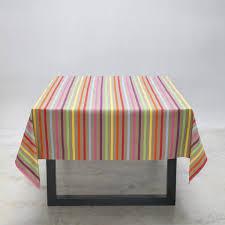 nappe ronde enduite 160 nappe basque amaya à rayures couleur prêt à poser en coton enduit