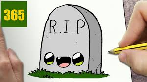 how to draw a tomb halloween cute easy step by step drawing