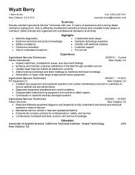 Resume Examples  Service Technician Resume Sample  resume summary     Rufoot Resumes  Esay  and Templates     Resume Examples  Example Of Resume Summary For Agricultural Service Technician With Highlights In Machine Diagnostics