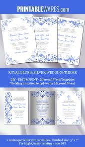 Editable Wedding Invitation Cards Free Royal Blue And Silver Wedding Invitation Templates For Microsoft