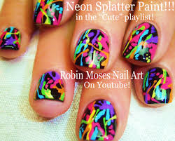 robin moses nail art flower splatter paint with flowers black