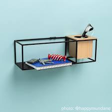 amazon com umbra cubist floating wall shelf small black home