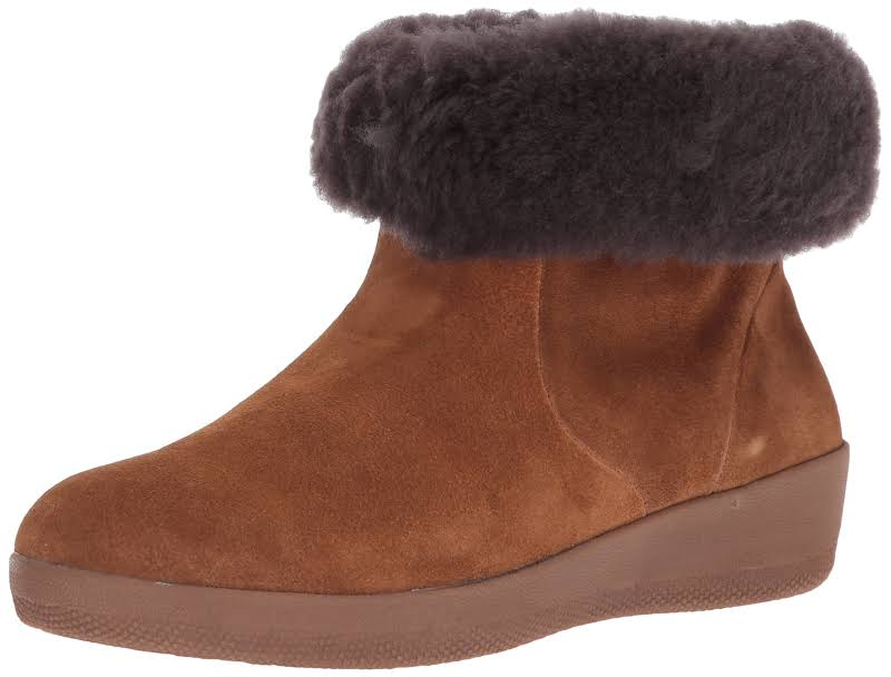 Fitflop Skatebootie Leather Lined Ankle Boots Tan 7.5 Medium (B,M)