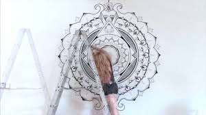 Mural Painting Sketches by Hand Painted Mandala Mural By Morgan Joanel Youtube