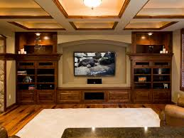 diy basement remodeling ideas with led screen tv between classic