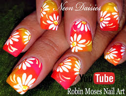 robin moses nail art diy neon daisy nails flower nail art