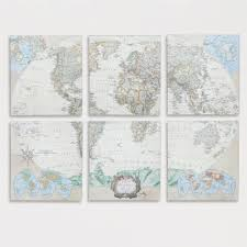 World Map Canvas by Six Piece World Map Set Set Of 6 Room Living Rooms And Bedrooms