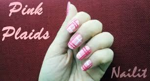 nail art tutorial for pink plaids simple diy step by step guide to