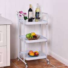 3 tier rolling kitchen trolley cart steel island storage utility
