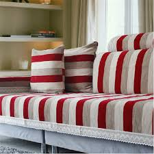 Sofa Slipcovers India by Striped Corner Sofa Covers Set Chenille Flocked Sectional Seat Mat