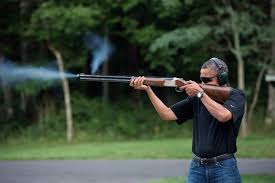 Barack Obama shooting clay