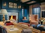 2013 Blue Wall Living Room With Fire Place Ideas - OnArchitectureSite.