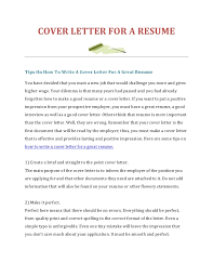 How To Write A Cover Letter For Resume  how to write a resume