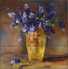 bluebonnet vase art tile mural kitchen back splash ceramic