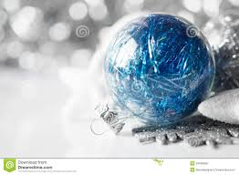 Christmas Tree Decorations Blue And Silver Blue And Silver Christmas Decorations On Holiday B Stock Photo
