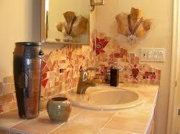 Bathroom Backsplash Ideas by White Oval Bathtub With Mosaic Pattern Bathroom Backsplash Tile