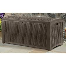 Wicker Resin Patio Furniture - suncast 99 gallon mocha wicker resin deck box outdoor patio