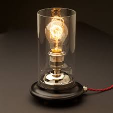Small Lamp Table Glass Tube Nickel Table Lamp