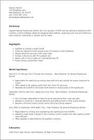 warehouse worker resume objective warehouse worker resume sample 12 resume examples for warehouse