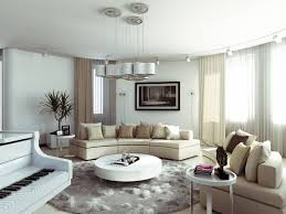modern living room with round coffee table and round area rug