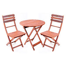 Wood Patio Furniture Sets - wooden 3 piece bistro set with folding chairs walmart com