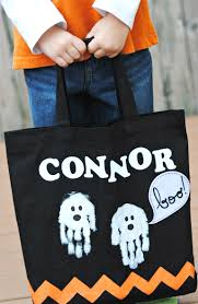 personalized halloween totes halloween trick or treat bag with handprint ghosts