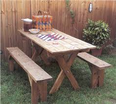 picnic table and benches outdoor wood plans immediate download