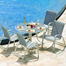 5 Pc Patio Dining Set - primera 5 piece aluminum patio dining set with 42 inch round glass