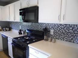 black and white wall decor gray kitchen cabinet blue ceramic tile