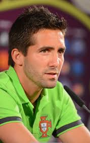 In this handout image provided by UEFA, Joao Moutinho of Portugal talks to the media during a UEFA EURO ...