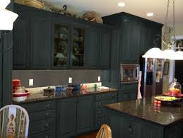 dark gray color painting old oak kitchen cabinets with marble