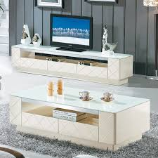 Living Room Furniture Tv Cabinet High Grade White Gloss Paint Glass Coffee Table Tv Cabinet Modern