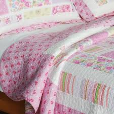 Girls Bedding Full by Rose Print Pink Girls Bedding Full Queen Quilt Set Pastel Pink