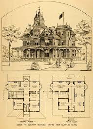 Massive House Plans by 1879 Print Victorian House Architectural Design Floor Plans Horace