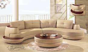 beige leather modern sectional sofa w cherry wooden shelf