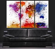 World Map Canvas by Paint Splash Watercolor World Map Canvas Art Print Contemporary