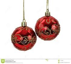 hanging red and gold christmas tree balls stock photos image