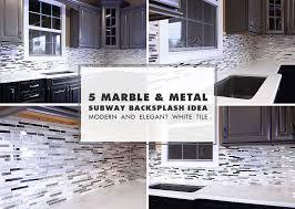Modern White Marble Glass Metal Kitchen Backsplash Tile - Kitchen with backsplash