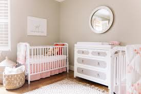 pink and gray nursery for twins transitional nursery