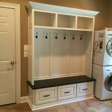 Storage Bench With Hooks by This Handcrafted Mudroom Locker Is Painted With A Stained Solid